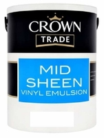 CROWN MID SHEEN EMULSION PAINT BRILLIANT WHITE 5 LTR