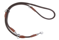 Ancol Deluxe Round Leather Training Lead Choc 19mm x 200cm x 1