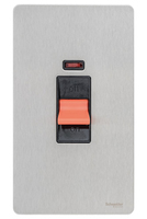 Schneider Ultimate Screwless Tall Cooker Double Pole Switch + Neon Stainless Steel Black LV0701.0934