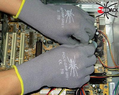 REDBACK Poly Grip Glove Grey (Pair)