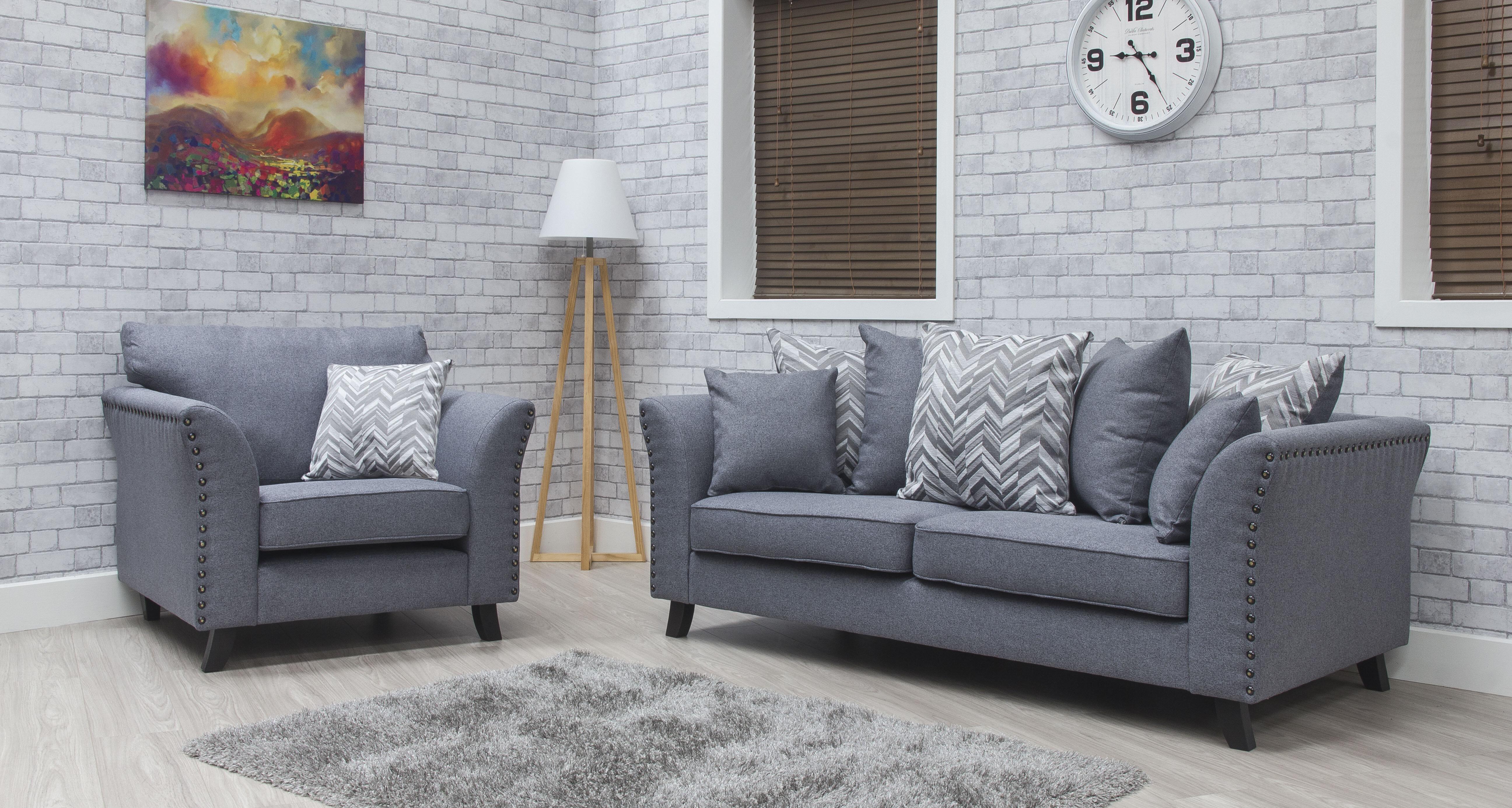 Cassia Fabric Sofa - Steel 2