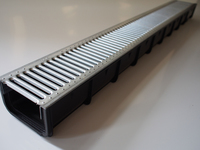 Drain Channel & Galvanised Grate 80mm high 1 Metre - Domestic use