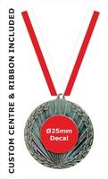 50mm Medal / CUSTOM Centre & RED Ribbon (B)
