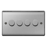 NEXUS METAL BRUSHED STEEL DIMMER SWITCH 400W 4-GANG 2-WAY