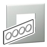 Arteor (British Standard) Plate 8 Module Round Pearl Alu | LV0501.0335