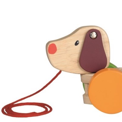 Wooden pull along toy dog for toddlers
