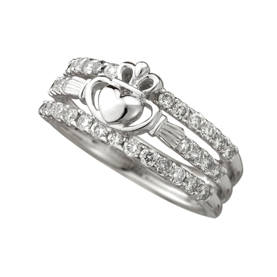 14K WHITE DIA CLADDAGH DRESS RING 0.75CT