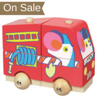 Wooden toddler stacking fire engine toy with wheels