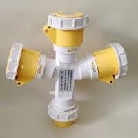 IP44 3-Way Multiplier & Plug 2 Pin + Earth 110-130V 16A