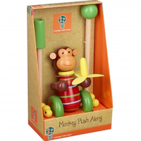 wooden push along monkey boxed