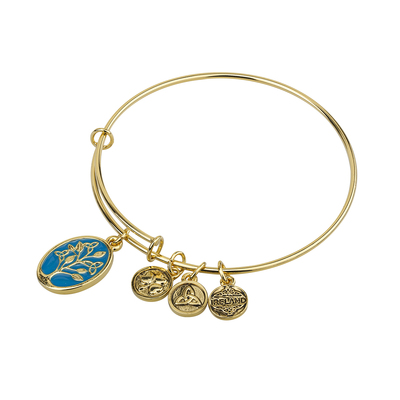 GOLD TONE ENAMEL TEE OF LIFE BANGLE