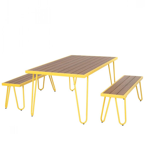 Paulette Outdoor Table and Bench Set (Yellow) 1