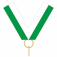 10mm Medal Ribbon with Clip (Green & White)