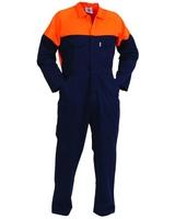 Turu Designer Contrast Long Sleeve Cotton Zip Overalls 300gsm