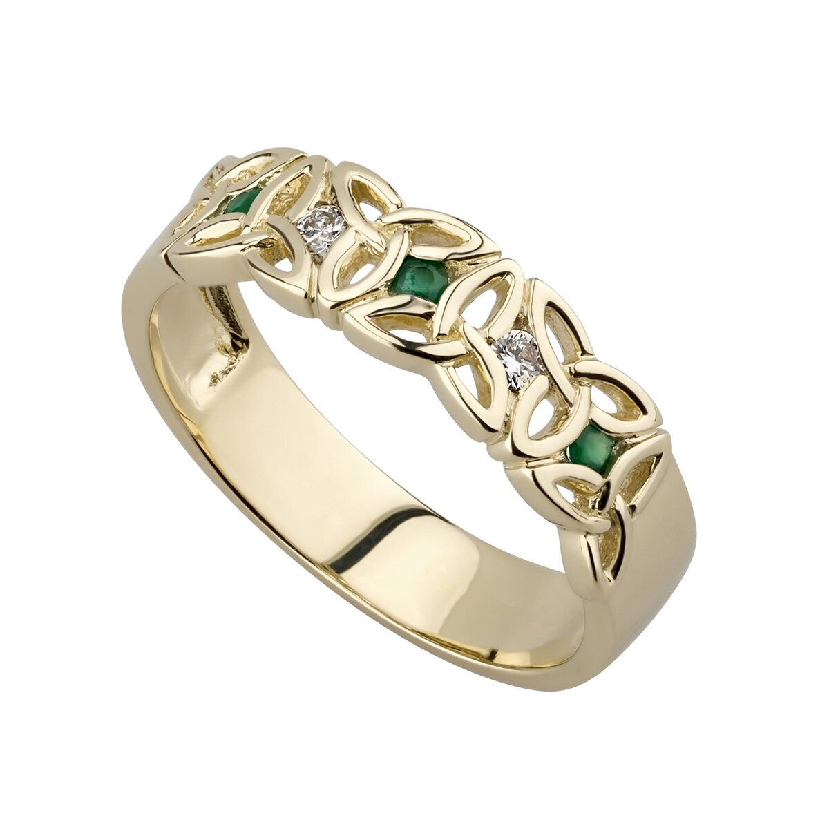 nine karat Gold Emerald And Cubic Zirconia Trinity Knot Ring S2630 from Solvar Jewellers, Ireland