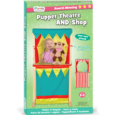 The storage box/packaging for the puppet theatre and shop