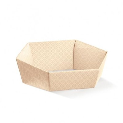 BOX TRAY HEX  NUDE EMBOSSED 290X230X85MM
