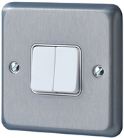 MK ALBANY BRUSHED CHROME FLUSH SWITCH 2 GANG