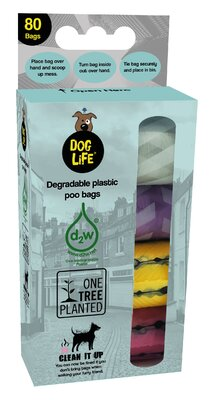 Dog Life Degradable Poo Bags 80 Bags (4 x 20 Bag Rolls) x 1