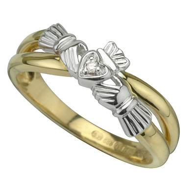 9CT DIAMOND CLADDAGH CROSS OVER