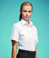 Disley Ladies White Pilot Shirt Short Sleeve