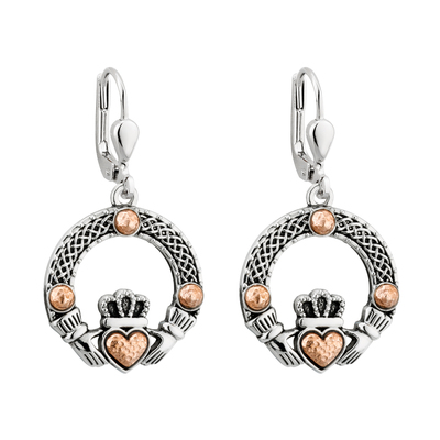 RHODIUM RGP DOME CLADDAGH EARRINGS