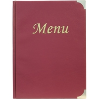 Basic Menu A4 Wine Red - 8 Page