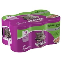 Whiskas 1+ Adult Cat Cans - Fish & Meat Selection Supermeat 390g