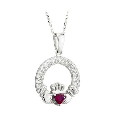 RUBY CLADDAGH PENDANT (JULY BIRTHSTONE)(BOXED)