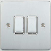 Schneider Ultimate Low Profile 2gang switch Brushed Chrome with White Insert | LV0701.0002