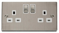 Click Deco Victorian Stainless Steel with White Insert Twin Switched Socket | LV0101.0108