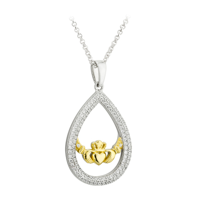S/S CZ & GP CLADDAGH OVAL PENDANT(BOXED)