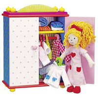 Dress-up doll with wooden wardrobe full of outfits