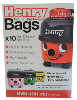 Genuine Numatic Henry Bags 10 Pack Nvm-1Ch Rebranded Box