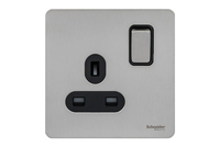 Schneider Ultimate Screwless 1 Gang Switch Stainless Steel Black|LV0701.0923
