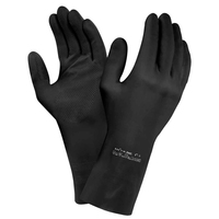 Ansell Flocklined Black Latex Gloves, Pair