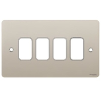 Switch Ultimate 4 Gang Flat Plate Pearl Nickel
