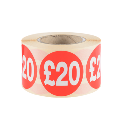LYNX SA £20 Red, Glossy Removable 40mm dia labels (Roll 500) Outside wound