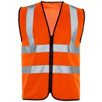 Supertouch Hi-Visibilty Vest - Black Binding - Zip, Orange