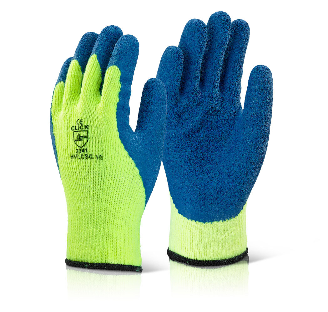 CLICK Coldstar Cold Conditions Grip Glove HV Yellow (Pair)