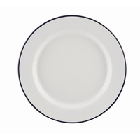 Wide Rim Plates Enamel White With Blue Edge 20cm