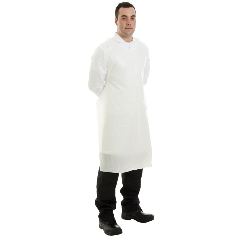 Supertouch 50 Micron PE Apron, 69x138 cm, Flat Pack, White (100 per pack)