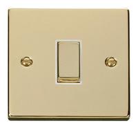 Click Deco Victorian Brass with White Insert 1 Gang Intermediate 'Ingot' Switch  | LV0101.0153