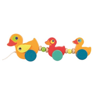 Wooden pull along toy family of ducks