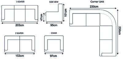 Milton Fabric Corner Sofa 4