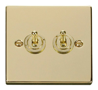 Click Deco Victorian Polised Brass 2Gang 2 Way Toggle Switch | LV0101.1825