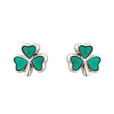 RHODIUM ENAMEL SHAMROCK STUD EARRINGS