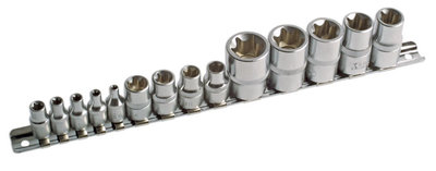 1/4inch 3/8inch and 1/2inch Drive Star Socket Set 14Pieces