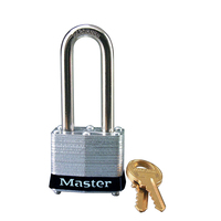 Master Lock Black laminated steel safety padlock, 40mm wide with 51mm tall shackle, keyed alike