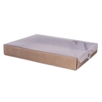 BOX GIFT/PVC LID 200X150X35MM  NAT.CORRAGATED